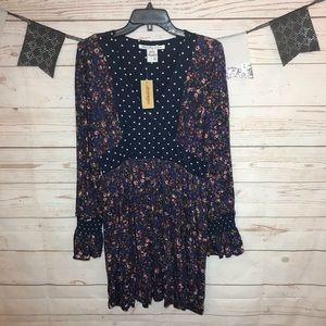 American Rag Cie Floral  Polka Dot Boho Dress XL